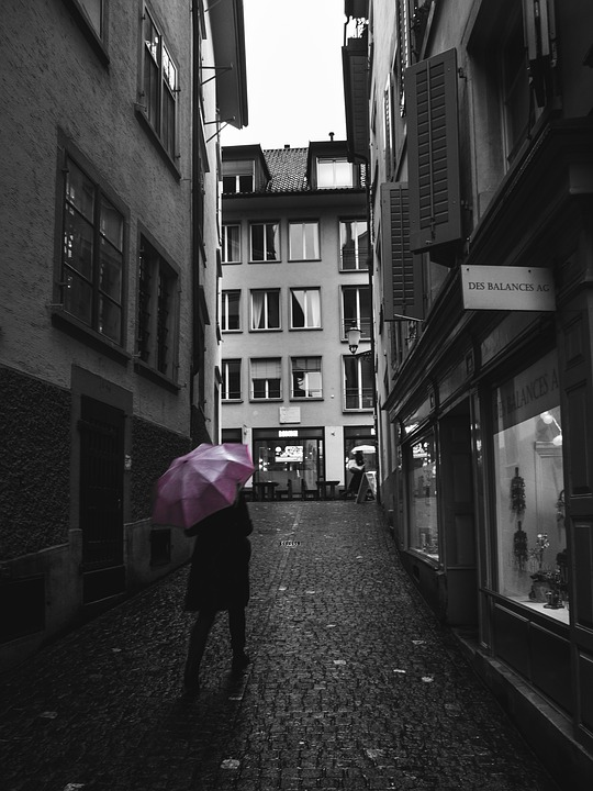 Street Photography, Zurich, Umbrella, Rainy Weather
