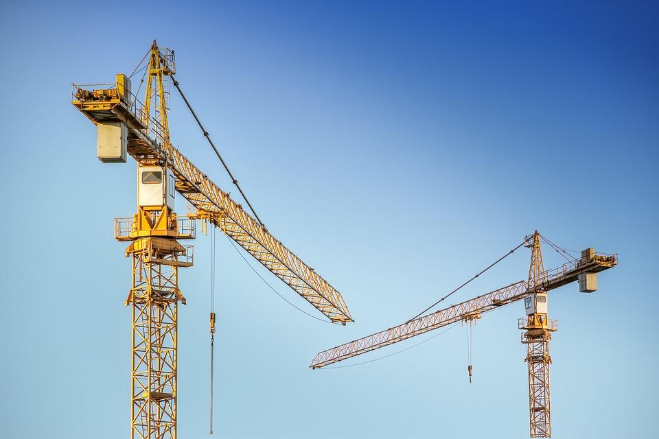 Baukran, Crane, Metal, Boom, Two, Transport, Raise