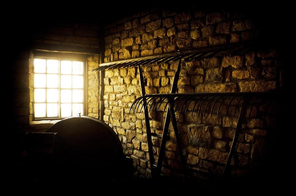Window, Barn, Rakes, Farm Equipment, Tools, Wall, Brick