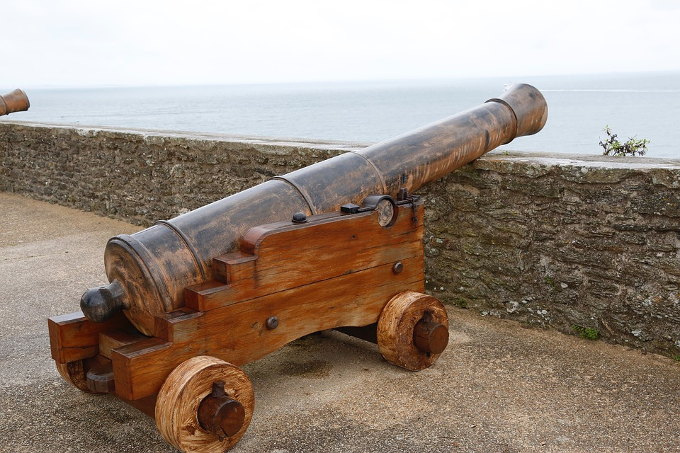 Canon, Rampart, Artillery, Military, France, Brittany