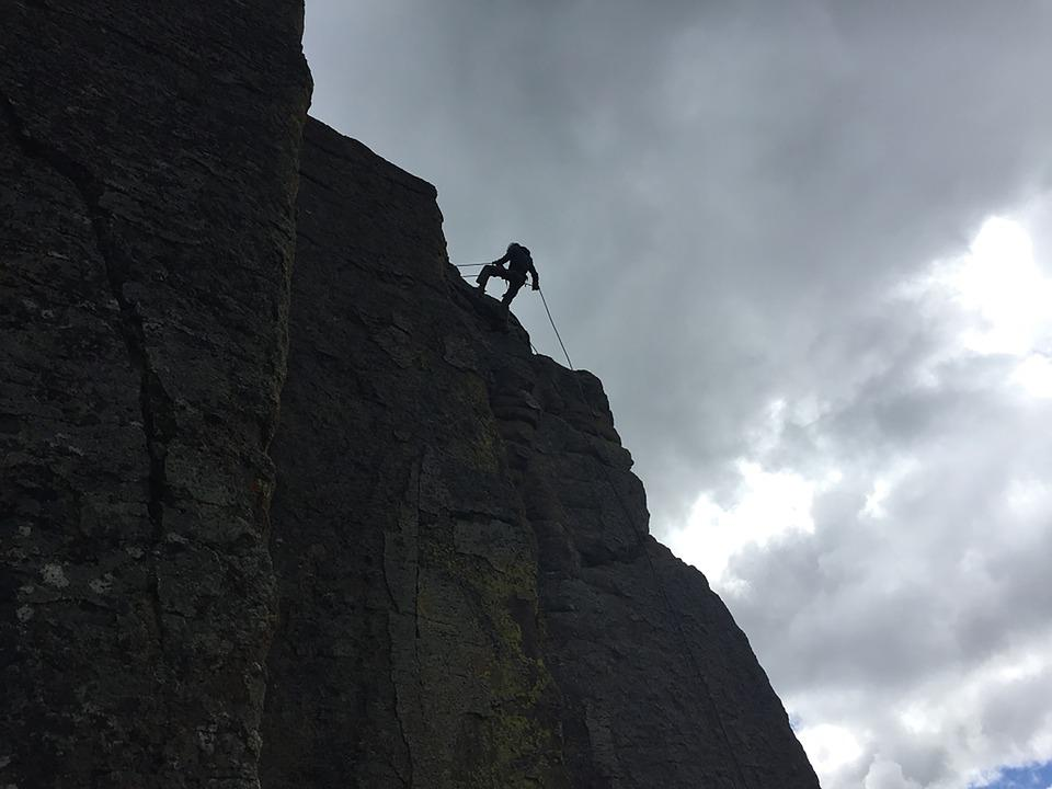 Cloudy, Rock, Rappelling, Rappel, Climbing