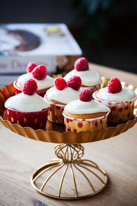 Cupcakes, Cream, Raspberries, Dessert, Cupcake, Cake