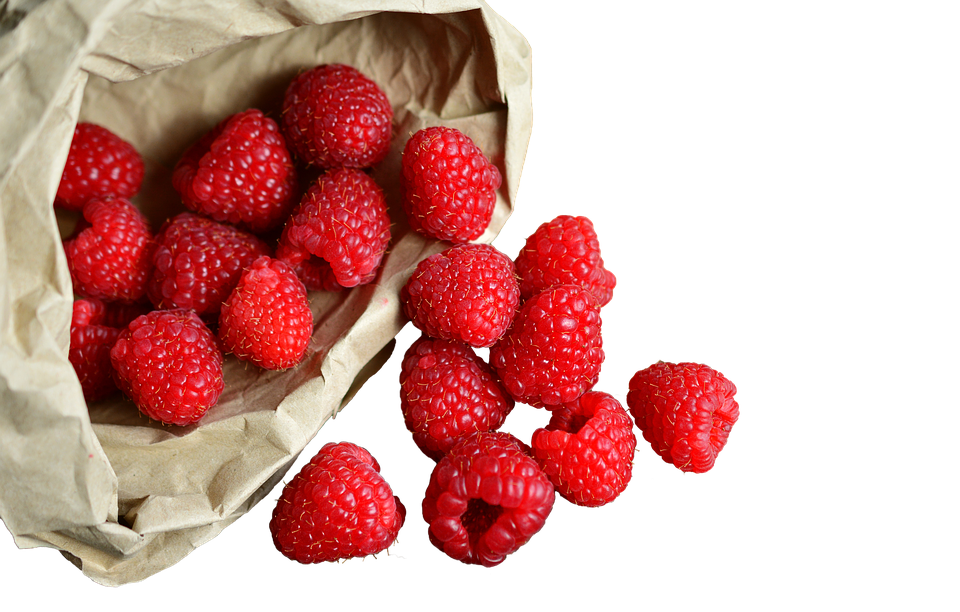 Raspberries In The Bag, Isolated, Fruit, Healthy