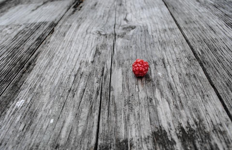 Raspberry, Wood, Red, Black And White, Fruit, Small