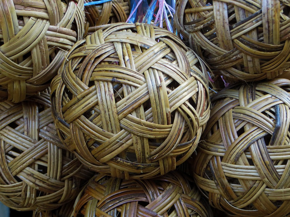 Rattan, Ball, Weaving, Basketry, Decoration, Grey