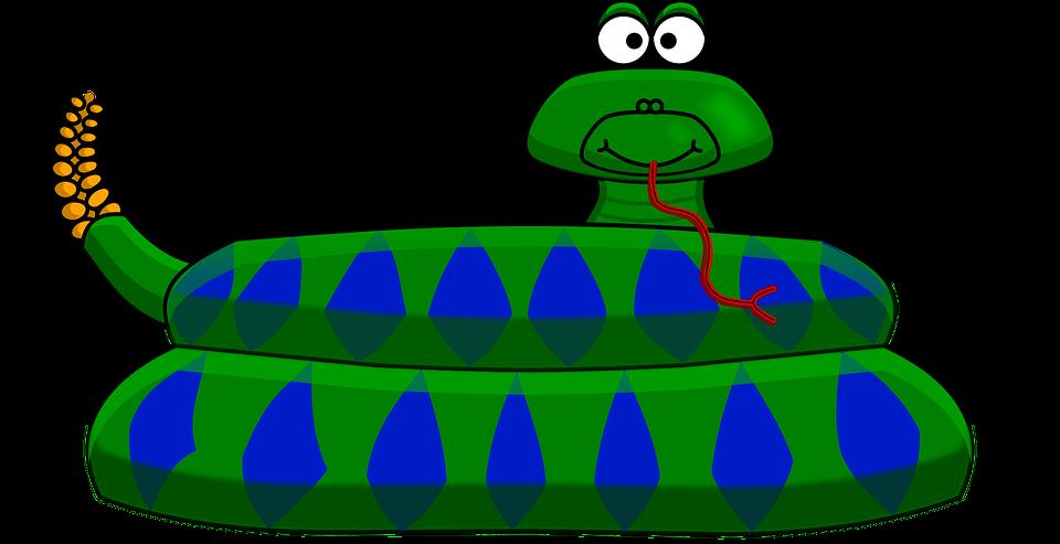 Cartoon Style, Green, Rattle, Snake