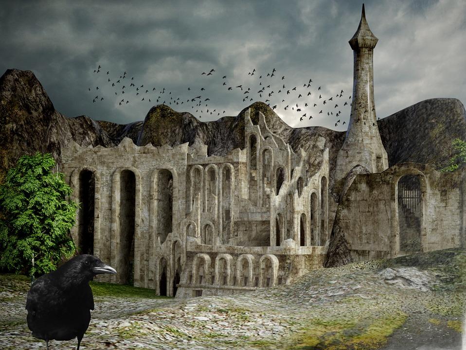 Raven, Castle, Ruin, Trees, Sky, Clouds, Landscape