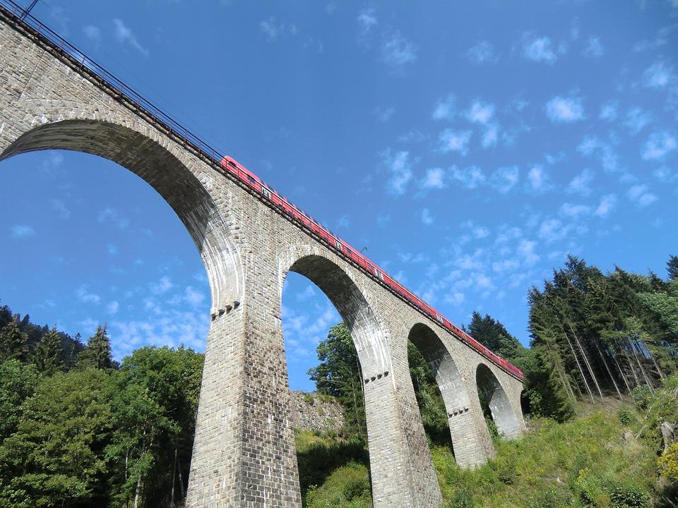 Ravenna Bridge, Breitnach, Black Forest, Sky, Train