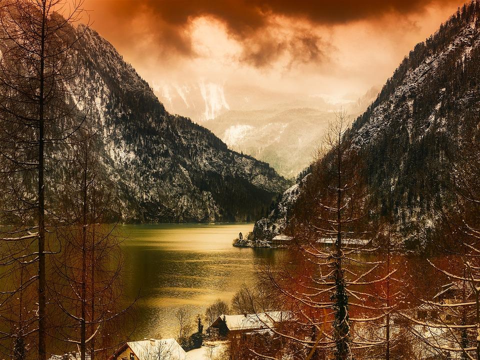 Austria, Landscape, Scenic, Mountains, Valley, Ravine