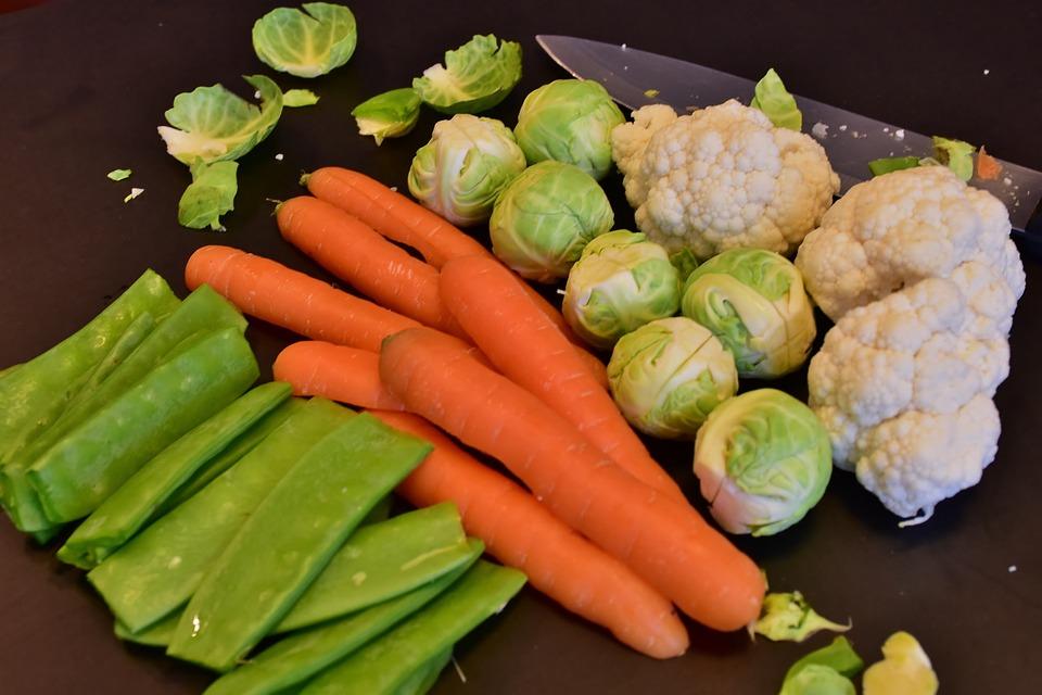 Vegetables, Raw, Carrots, Cauliflower, Beans