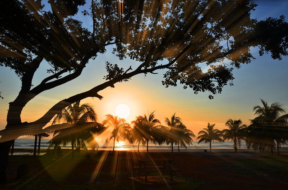 Sunrise, Ray, Beach, Landscape, Sunlight, Sunset