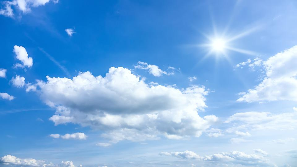 Sun, Rays, Sunny, Typical, Beautiful, Blue, Sky, Clouds