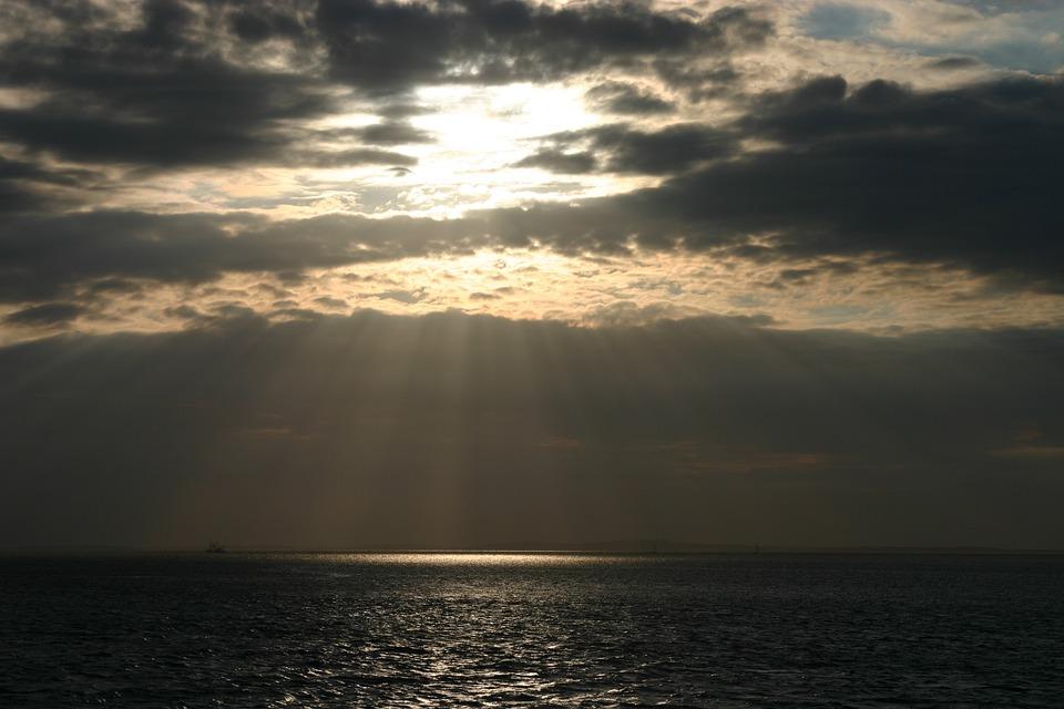 Terschelling, Sunset, Sky, Dusk, Sunlight, Rays