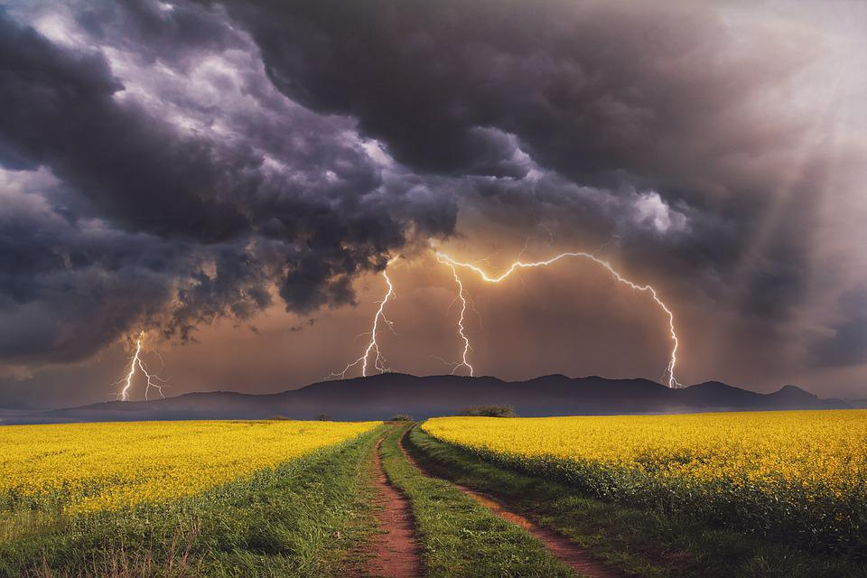Landscape, Field, Spring, Storm, Rays, Clouds, Sky