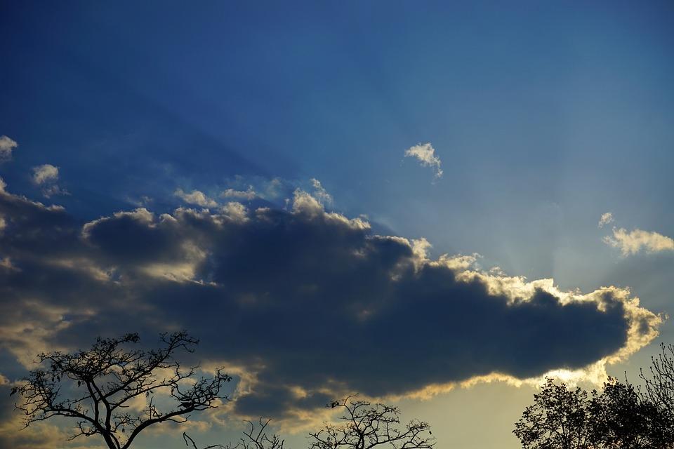 Sunbeam, Clouds, Evening Sky, Sunset, Rays, Mood