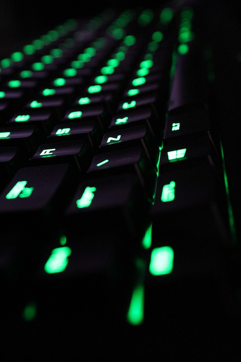 Keyboard, Computer, Razer, Green, Dark