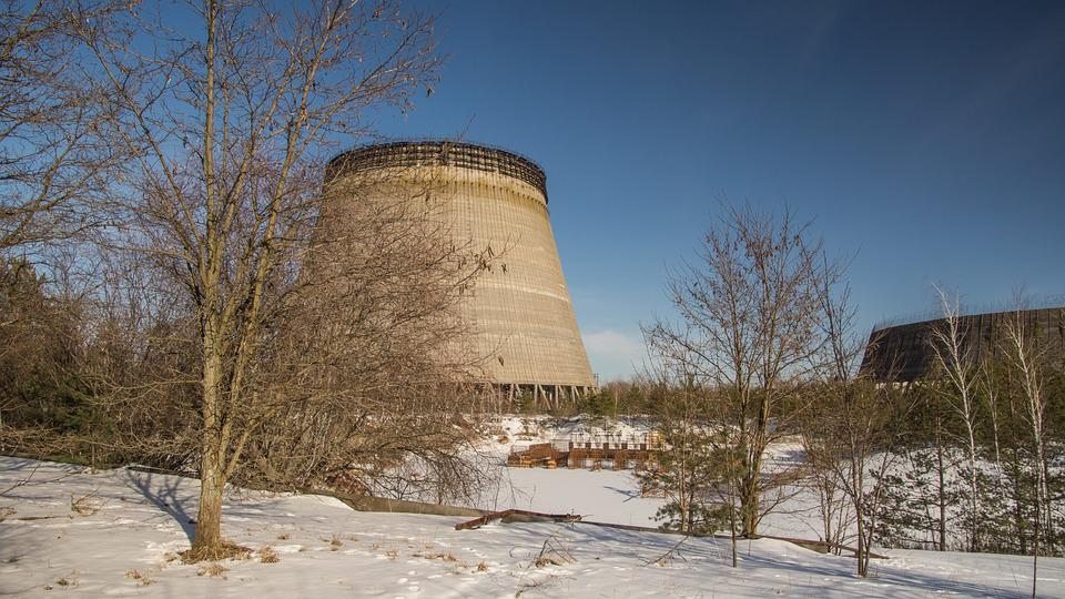 Cooling Tower, Reactor, Unfinished, Snow
