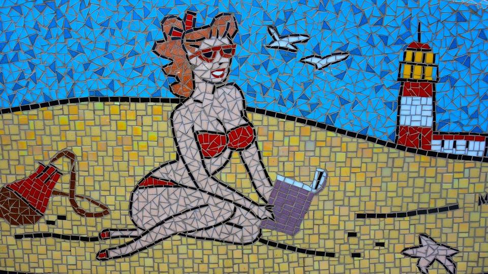 Mosaic, Beach, Read, Tiles, Lighthouse, Netherlands