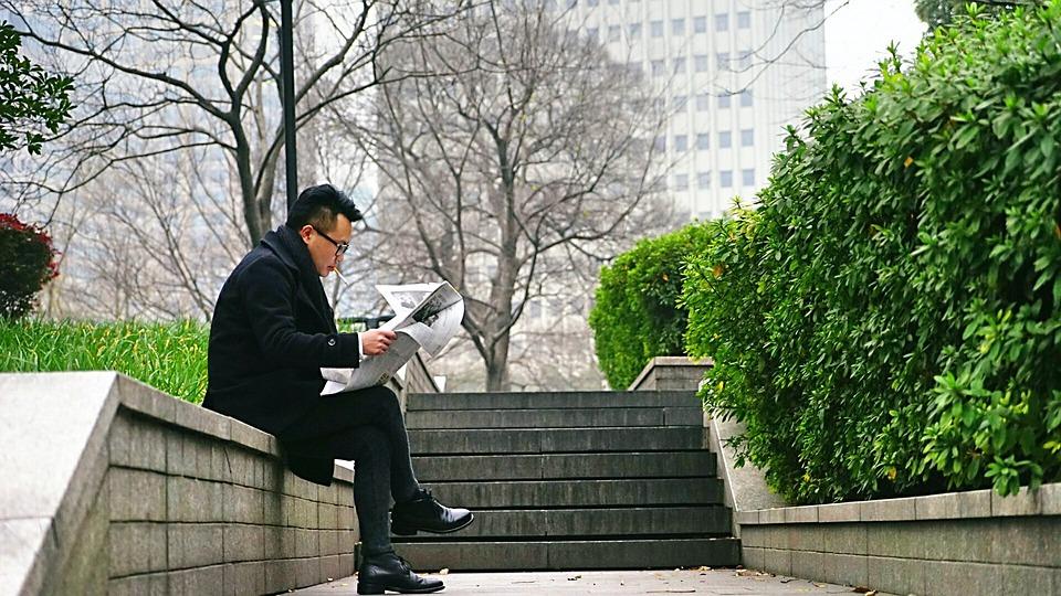 Asia, China, Men, Read, Park, Newspaper