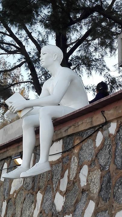 Figure, Man, Reading A Book