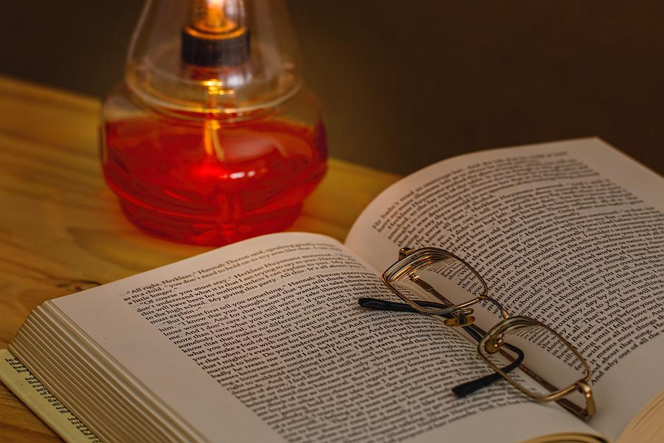Book, Oil Lamp, Spectacles, Read, Reading Glasses, Dark