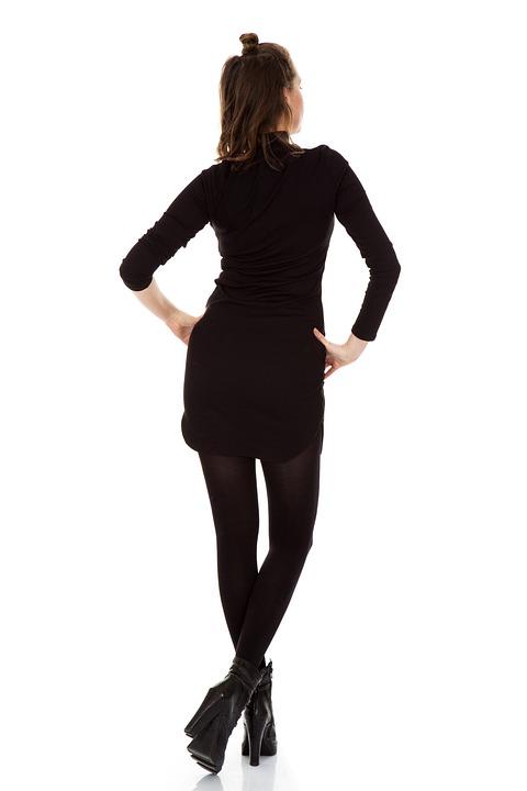 Woman, Model, Fashion, Back, Rear, Skirt, Dress, Socks