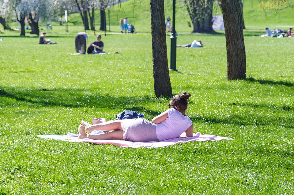 Reclining Woman, Holiday In The Park, Lawn, Field