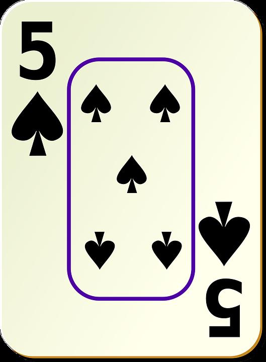 Spade, 5, Card, Face, Five, Recreation, Games, Cards