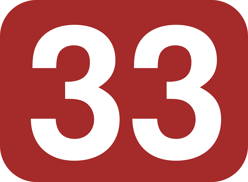 Number, 33, Rounded, Rectangle, Shape, Brown, White