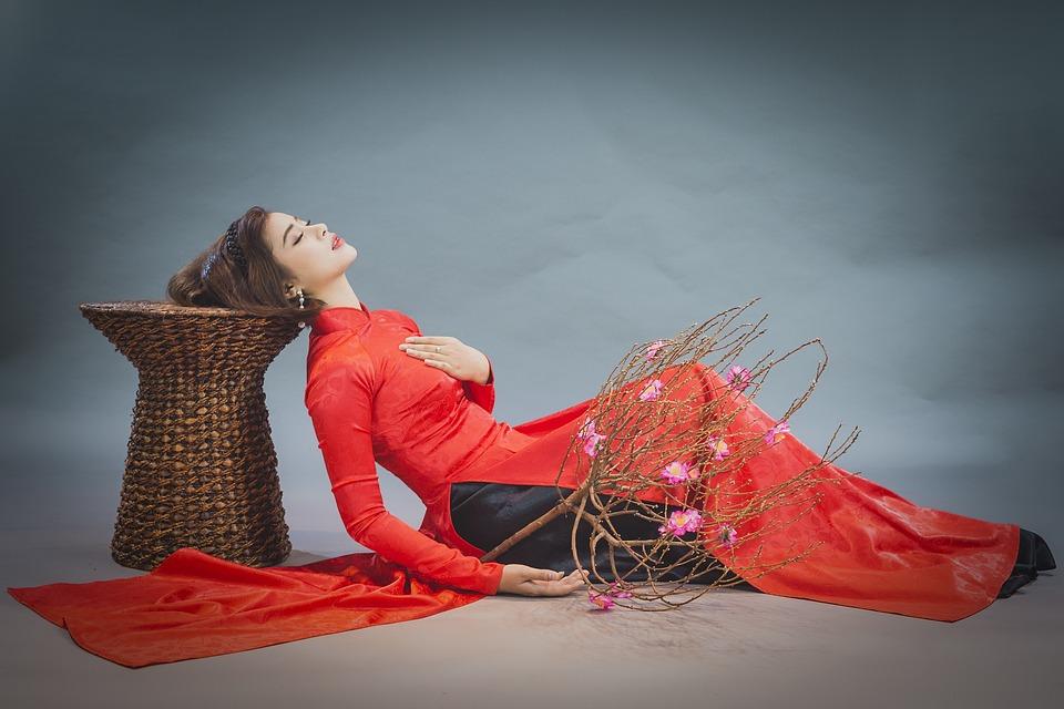 Ao Dai, Fashion, Woman, Vietnamese, Red Ao Dai
