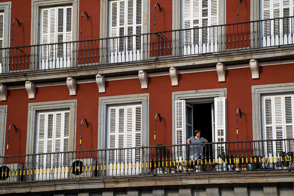Red, Windows, Woman, Balcony, Architecture, Facade
