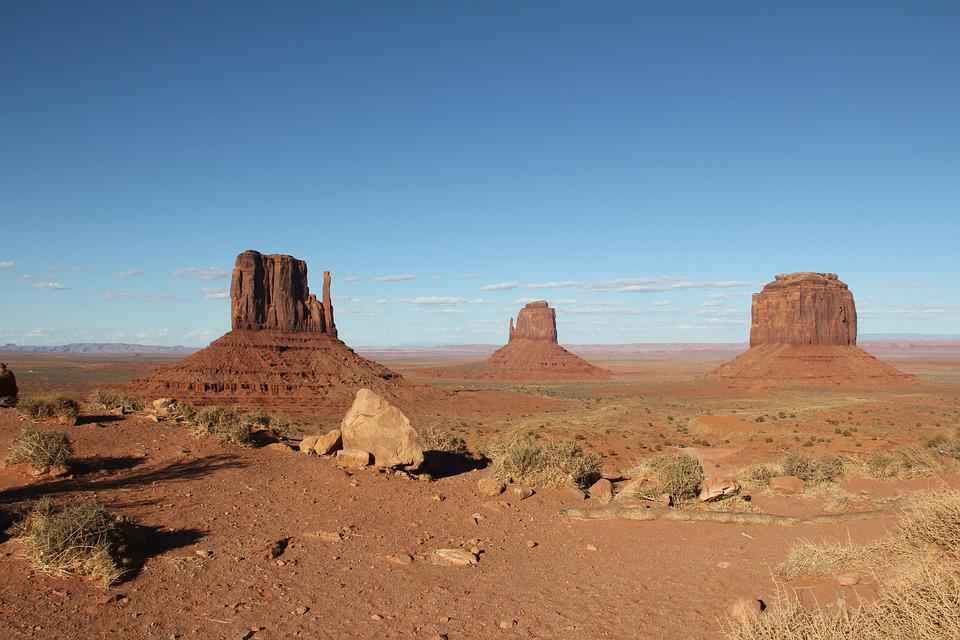 Monument Valley, Arizona, Usa, Desert, Landscape, Red