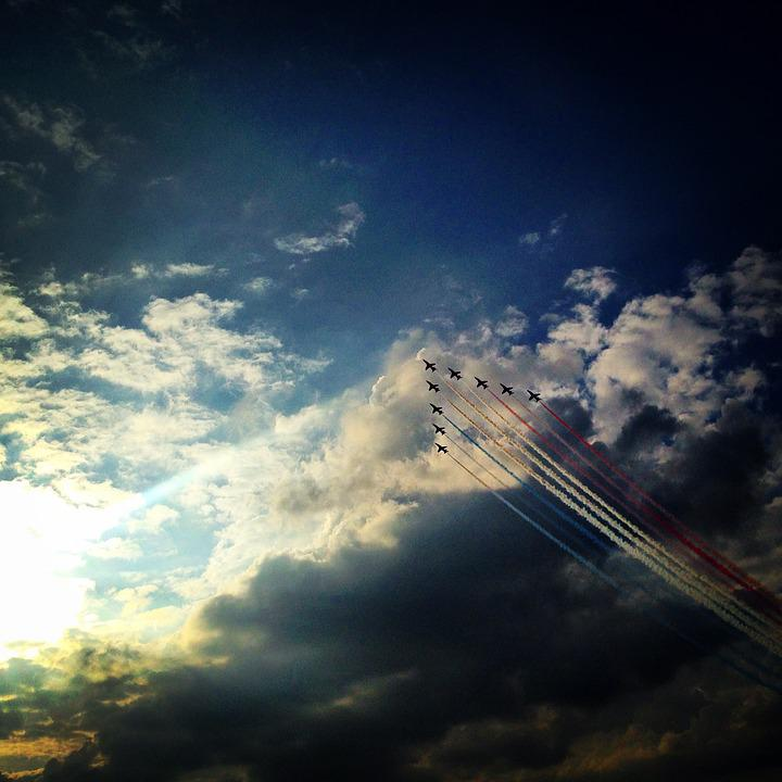 Red Arrows, Aeroplane, Red, Air, Airplane, Sky, Jet