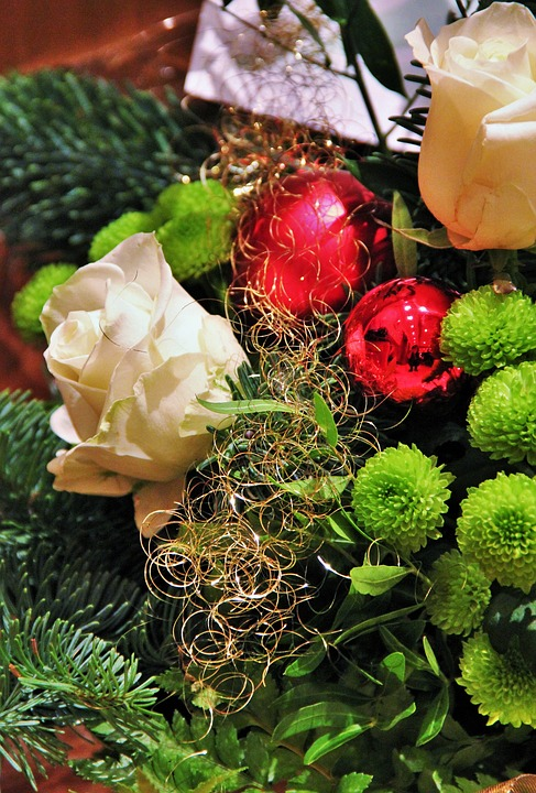 christmas bouquet christmas red balls angel hair