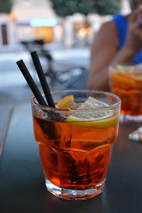 Glass, Cocktail, Alcohol, Drink, Bar, Red, Orange