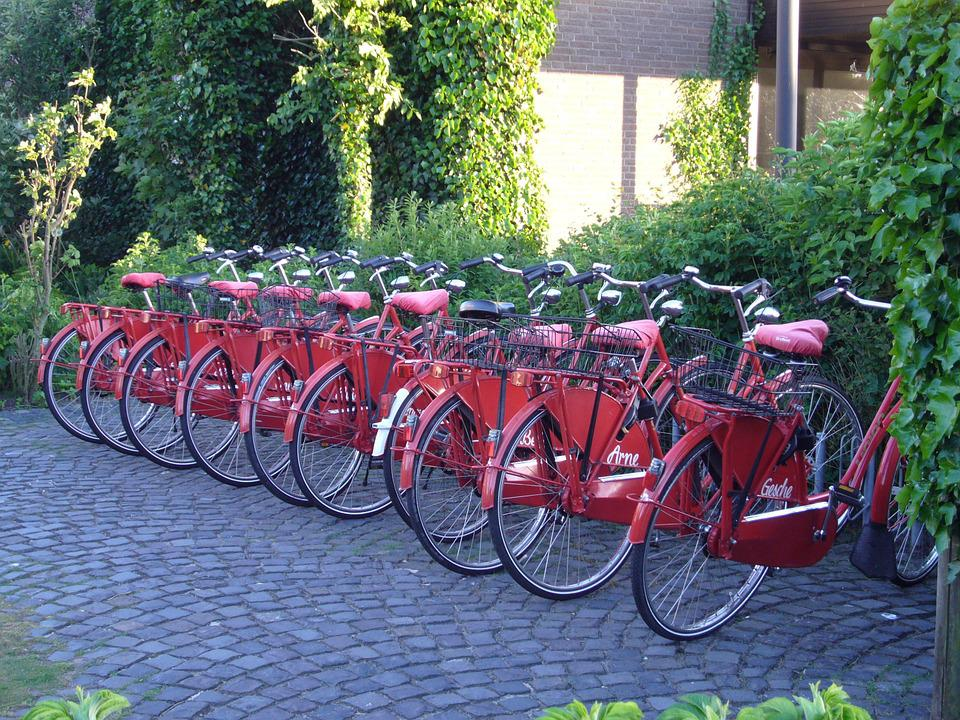 Bikes, Bike, Bicycle Hire, Red, Tourism, Norderney