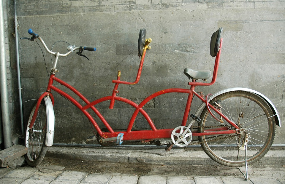Tandem, Bicycle, Bike, Cycling, Transportation, Red