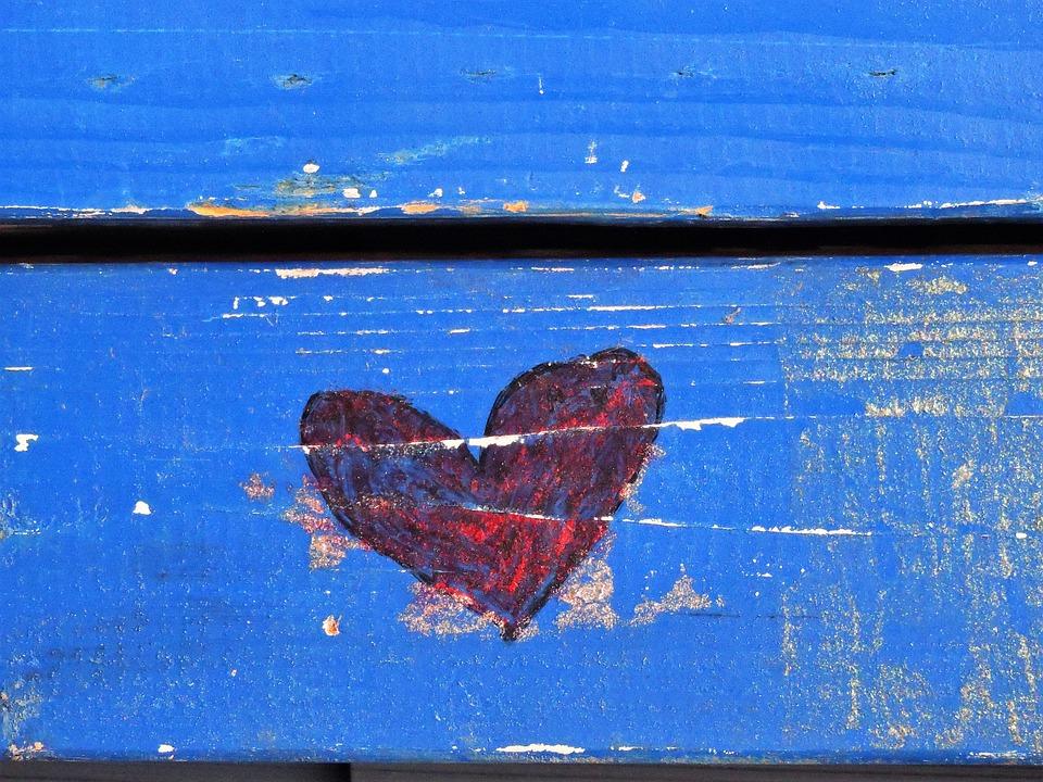 Blue, Red Heart, Graffiti, Heart, Love, Red, Wood
