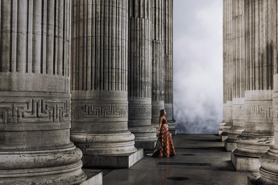 Castle, Columns, Princess, Clouds, Dress, Red, Bohemian