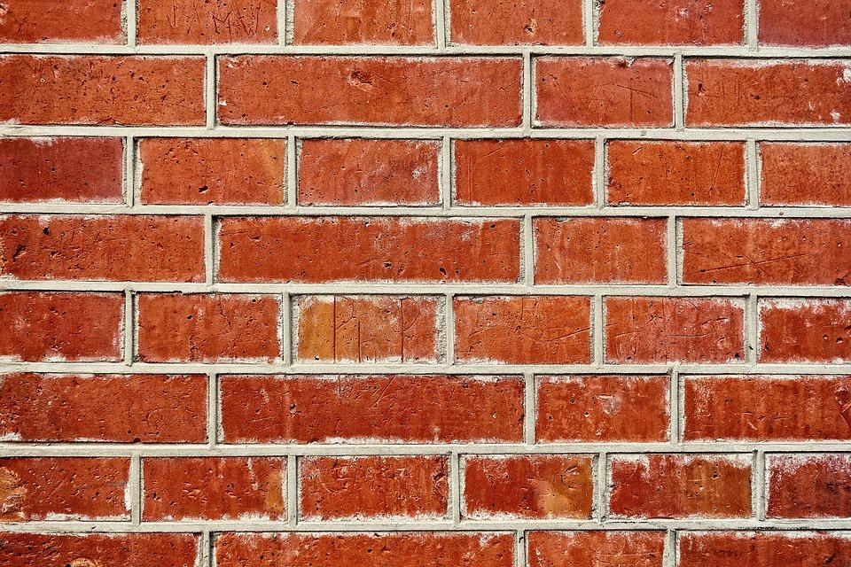 Wall Brick Red Seam Masonry Mortar