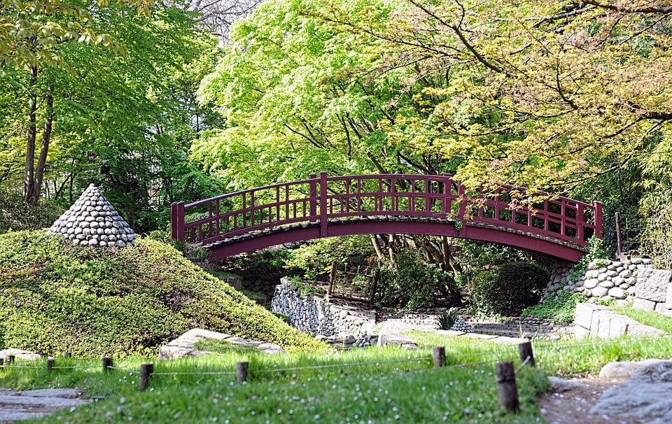 albert kahn garden bridge japanese garden red bridge - Red Japanese Garden Bridge