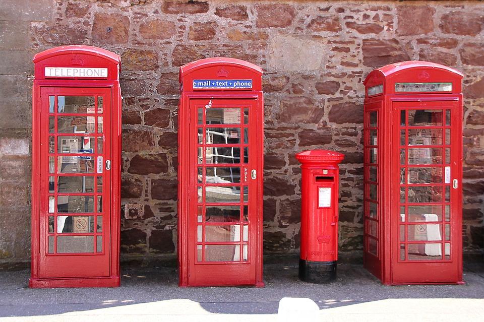 Scotland, British, Phone, Phone Booth, Red, Wall