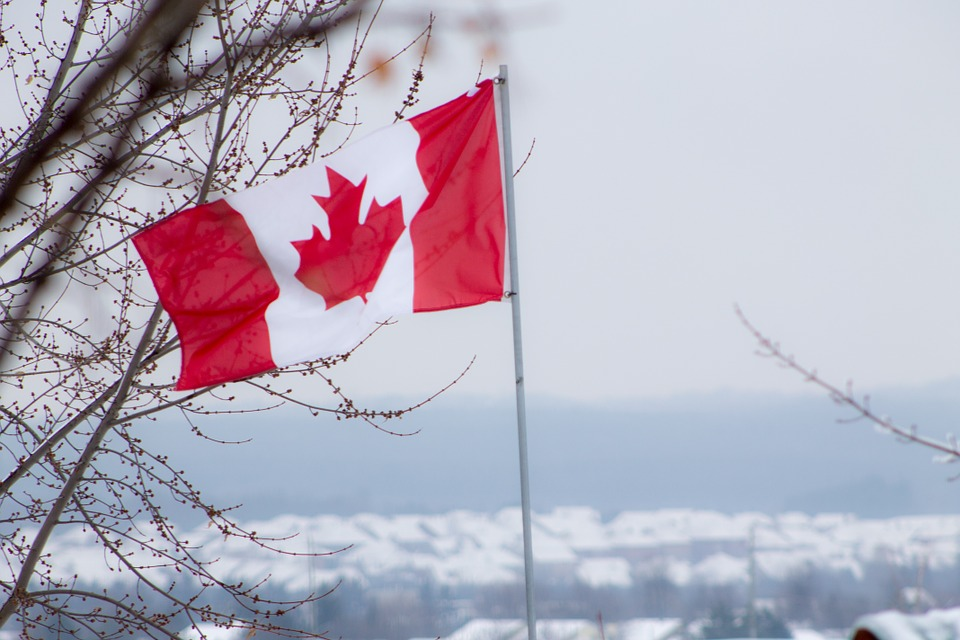 Flag, Canada, Red, White, Canadian, Winter