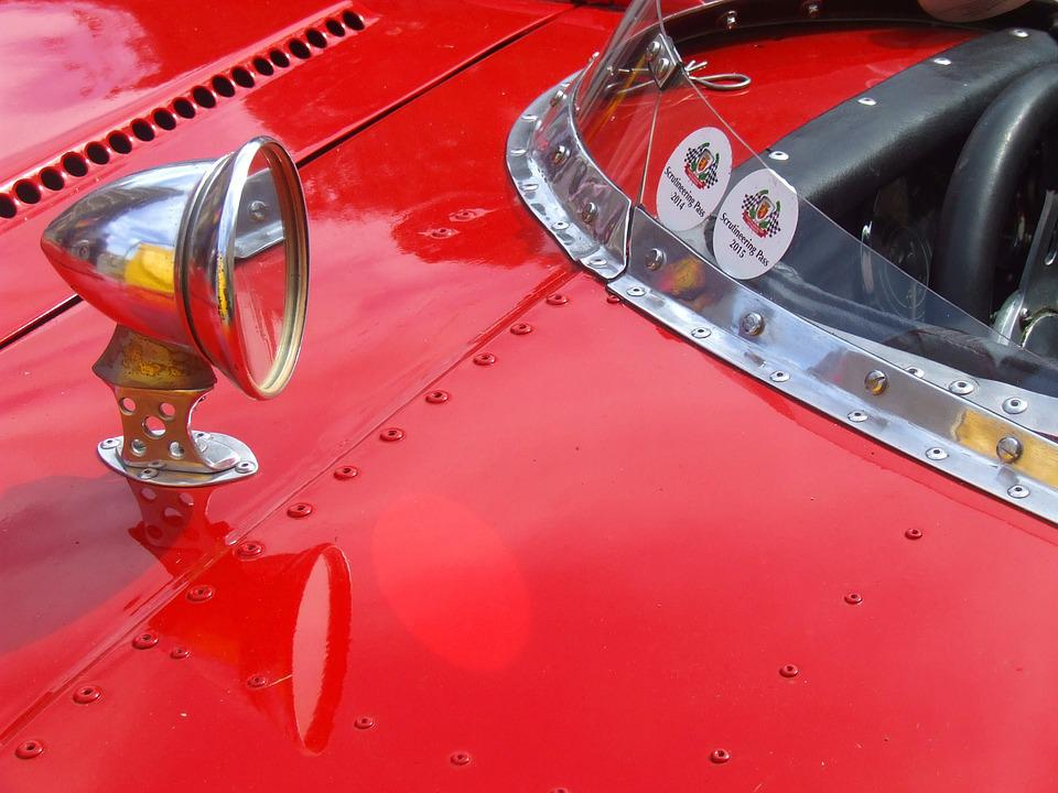 Vintage Car, Red Car, Red Racing Car, Car Front End