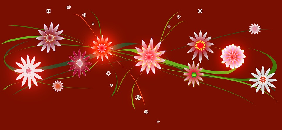 Christmas, Flowers, Red, Green