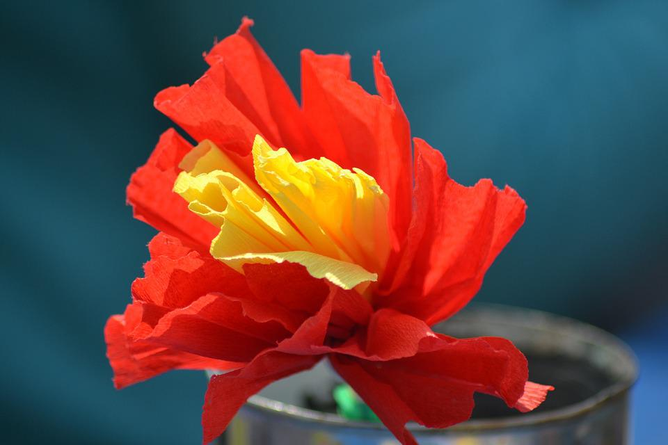 Paper Flower, Tinker, Flower, Red, Colorful, Decorative