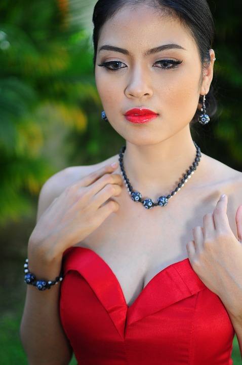 Red Dress, Necklace, Lady