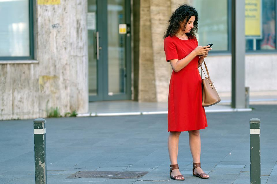 Woman, Red Dress, Phone, Purse, Young, Person, Building