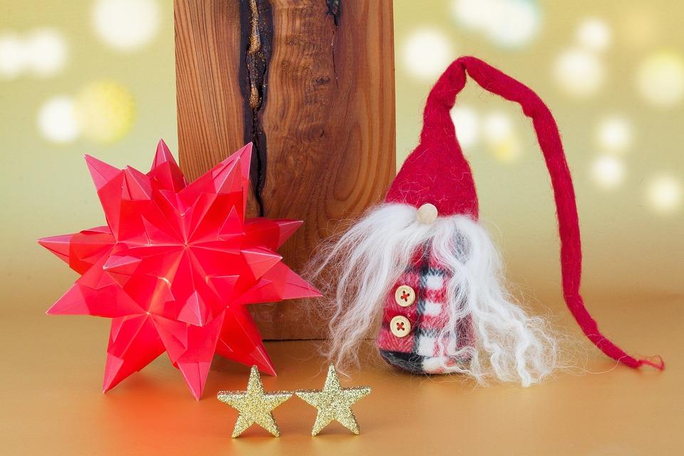 Christmas, Star, Origami, Dwarf, Fabric, Red, Wood
