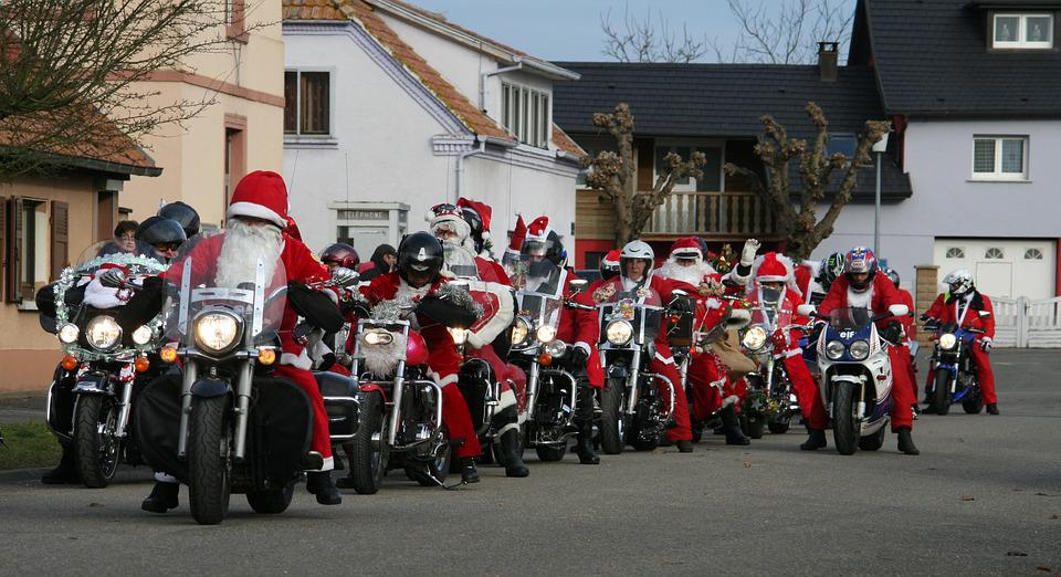 Father Christmas, Motorcycles, Bikers, Red